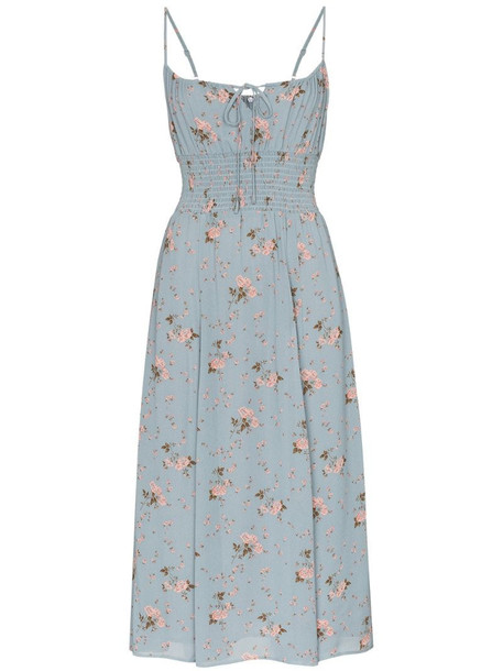 Reformation Bran flared midi dress in blue