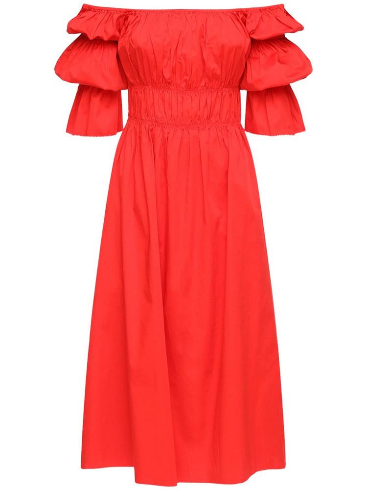 CULT GAIA Stella Ruffled Stretch Cotton Midi Dress in coral