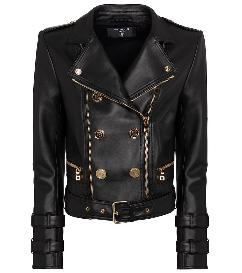 Balmain Leather biker jacket in black