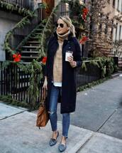 dress,long coat,black coat,sweater,turtleneck sweater,knitted sweater,white t-shirt,ballet flats,ripped jeans,brown bag