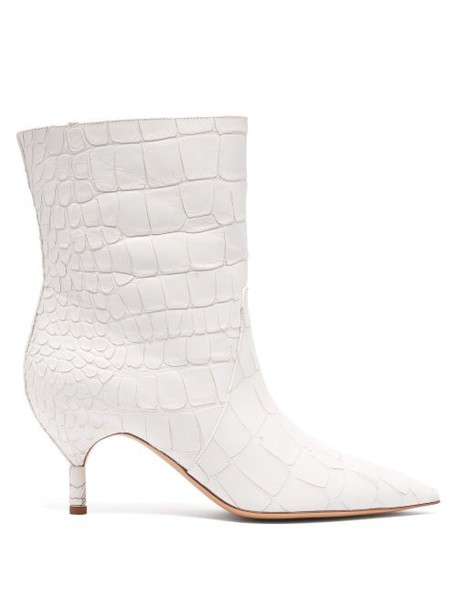 Gabriela Hearst - Mariana Crocodile Effect Leather Ankle Boots - Womens - White