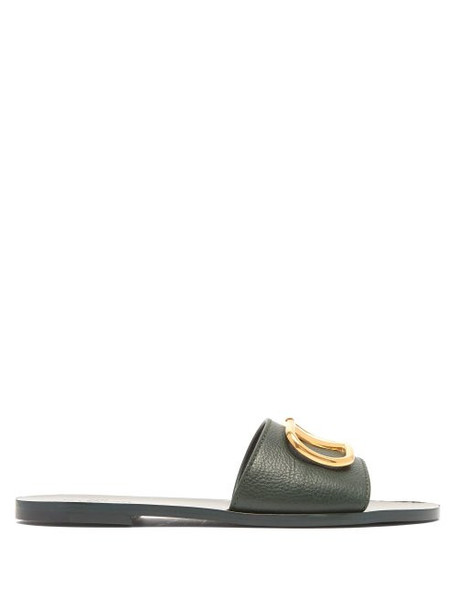 Valentino - Go Logo Leather Slides - Womens - Green