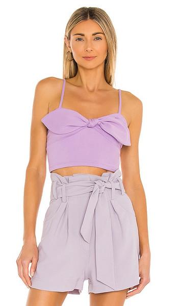 Susana Monaco Bow Front Crop Top in Purple in violet