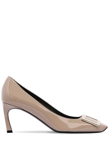 ROGER VIVIER 70mm Trompette Patent Leather Pumps in taupe