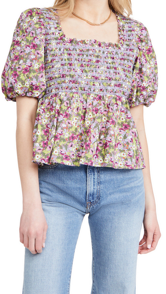 ENGLISH FACTORY Floral Smocked Top in purple / multi