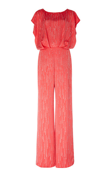 Jenny Packham Evita Sequined Satin Jumpsuit in red