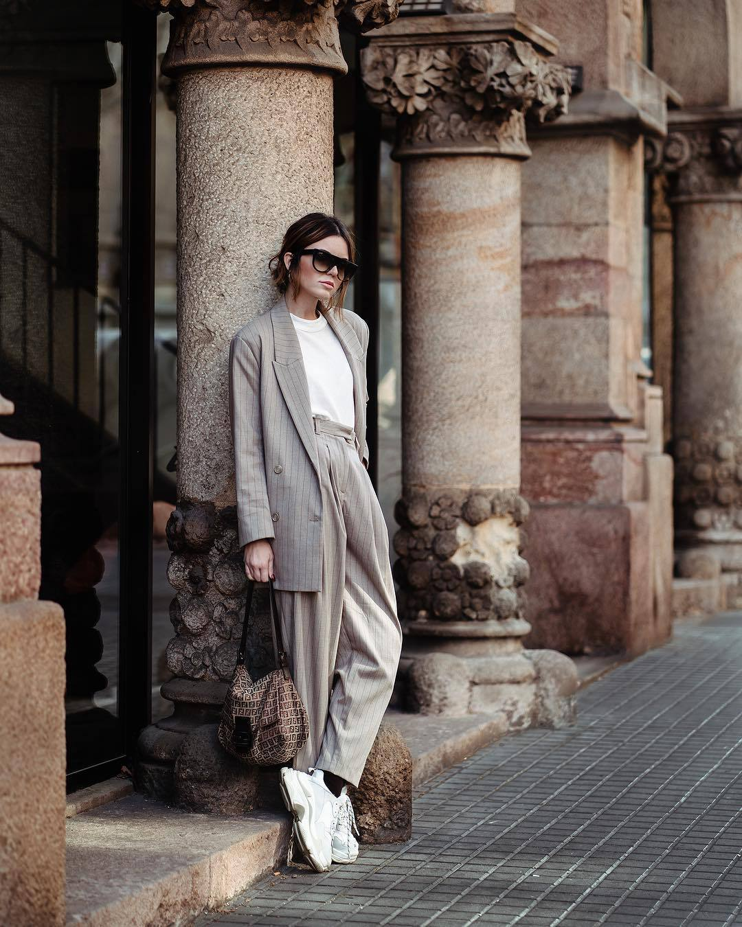 jacket blazer double breasted stripes high waisted pants white sneakers fendi bag white t-shirt