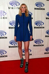 dress,blue,blue dress,sophie turner,celebrity,long sleeves,mini dress