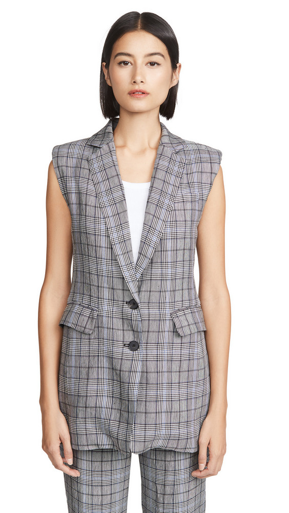 ei8htdreams Linen Plaid Tailored Vest in blue
