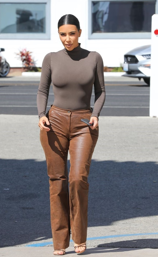 pants leather leather pants kim kardashian kardashians brown
