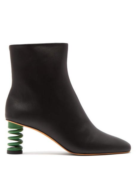 Gray Matters - Molla Spring Heel Leather Ankle Boots - Womens - Black Green