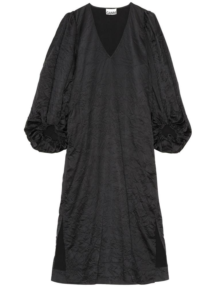 GANNI Crinkled Satin Dress in black