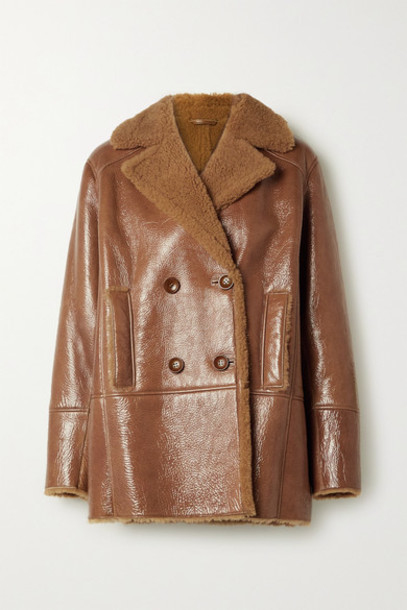 REMAIN Birger Christensen - Ray Double-breasted Shearling-lined Glossed Textured-leather Jacket - Brown