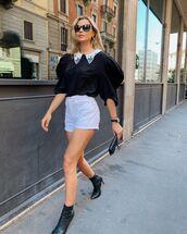 top,black shirt,miu miu,black boots,ankle boots,white shirt