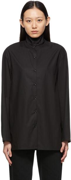 Lemaire Black High Collar Shirt