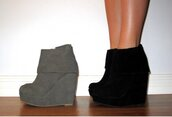 grey shoes,black shoes,grey,black,wedges,shoes,boots,booties,foldover