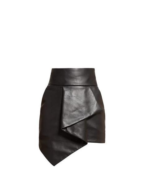 Alexandre Vauthier - Asymmetric Leather Mini Skirt - Womens - Black