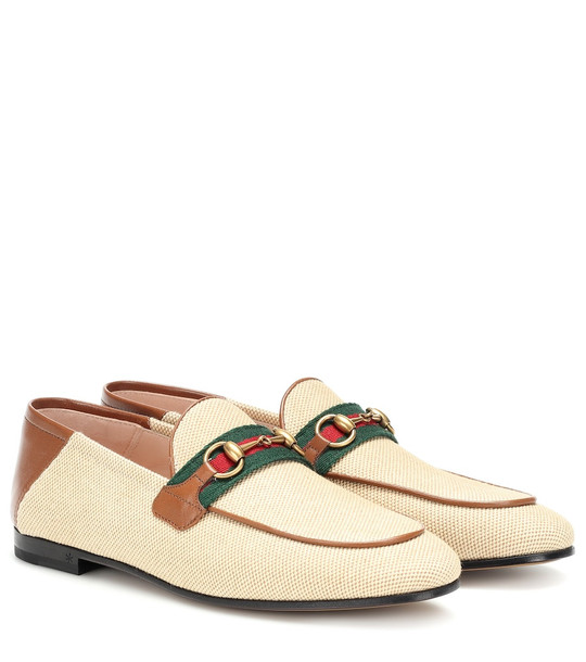 Gucci Horsebit canvas loafers in beige