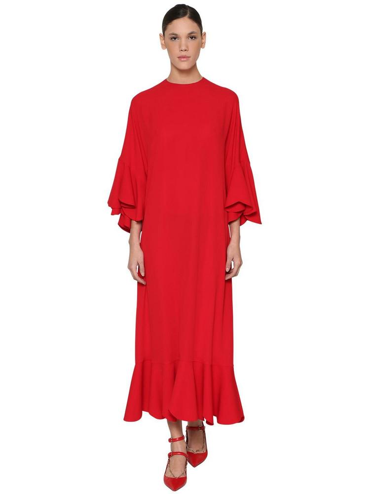 VALENTINO Silk Georgette Midi Dress in red