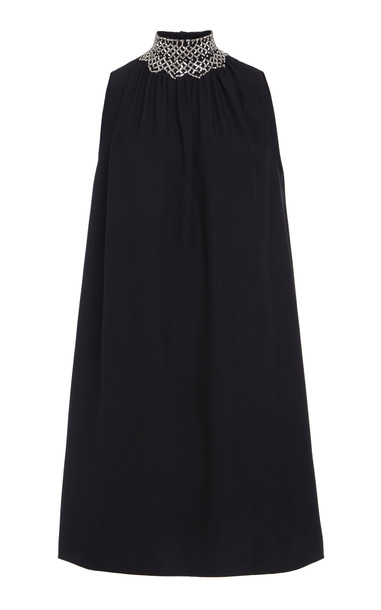 Prada Smocked Mini Dress in black