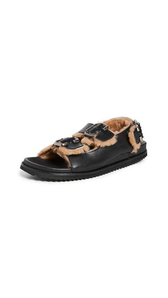 Freda Salvador Piper Shearling Sandals in black