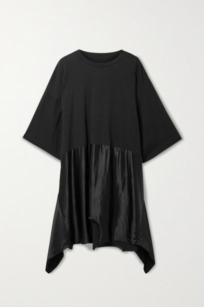 MM6 Maison Margiela - Asymmetric Cotton-jersey And Satin Mini Dress - Black