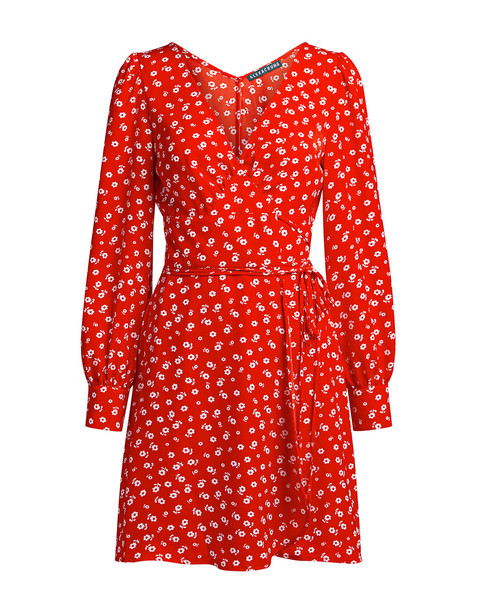 Alexa Chung Floral Double Tie Wrap Mini Dress Red