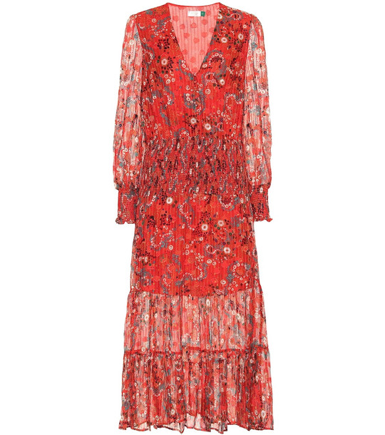 Rixo Maya printed silk-blend midi dress in red