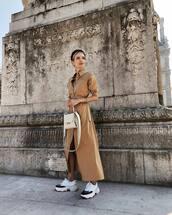coat,shirt dress,maxi dress,white sneakers,platform sneakers,white bag,headband