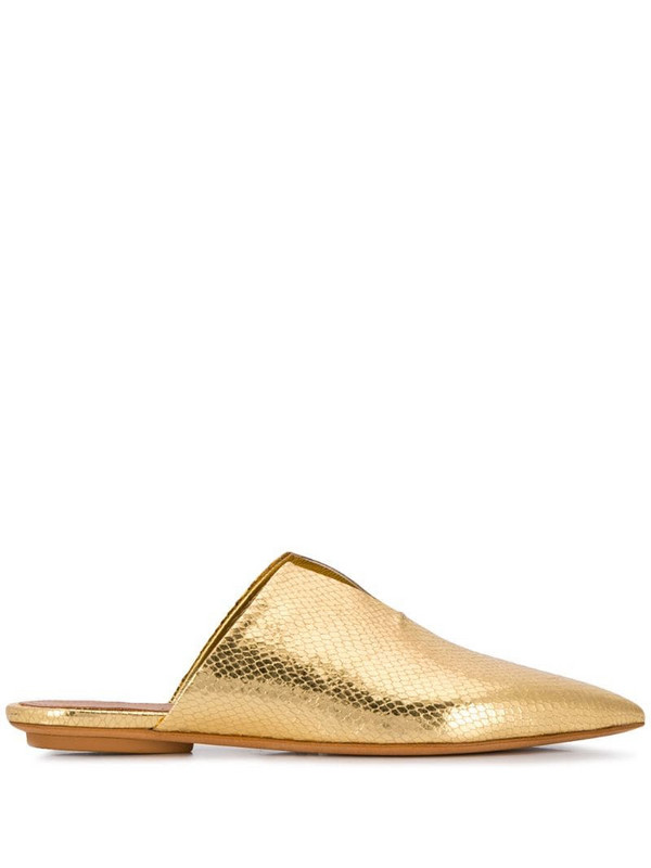 Forte Forte metallic pointed slides in gold
