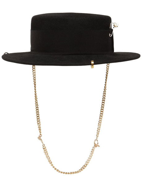RUSLAN BAGINSKIY Piercing Boater Felted Hat in black