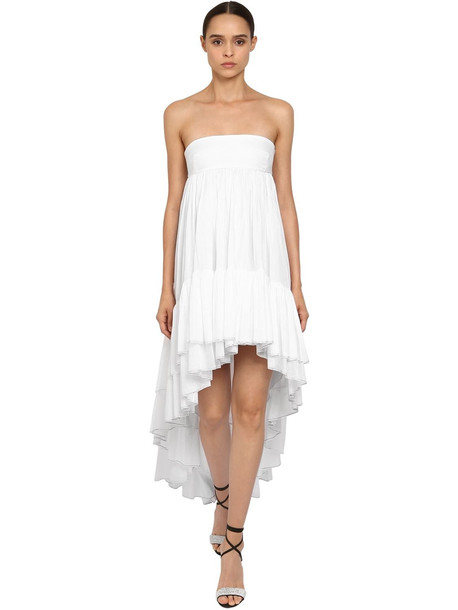 ALEXANDRE VAUTHIER Crystal Ruffled Cotton Asymmetric Dress in white