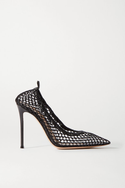 Gianvito Rossi - 105 Leather-trimmed Fishnet Pumps - Black