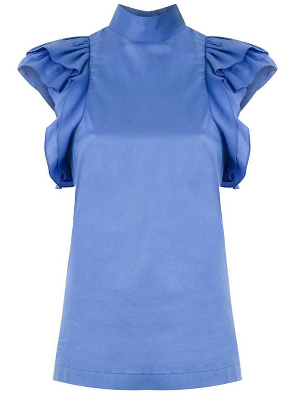 Reinaldo Lourenço funnel neck blouse in blue