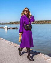 coat,purple,knee high boots,black boots,crossbody bag,hoodie