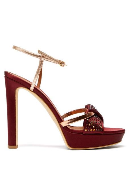 Malone Souliers - Lauren Crystal Embellished Satin Platform Sandals - Womens - Burgundy Gold