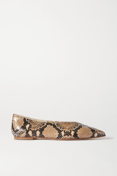 aeyde - Moa Snake-effect Leather Point-toe Flats - Snake print