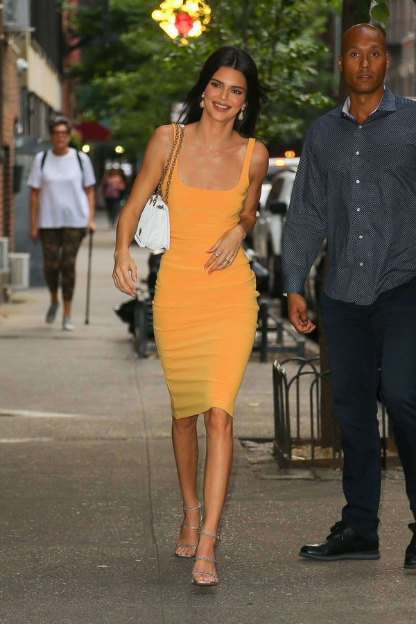 dress bodycon dress orange orange dress celebrity midi dress kendall jenner kardashians model off-duty sandal heels