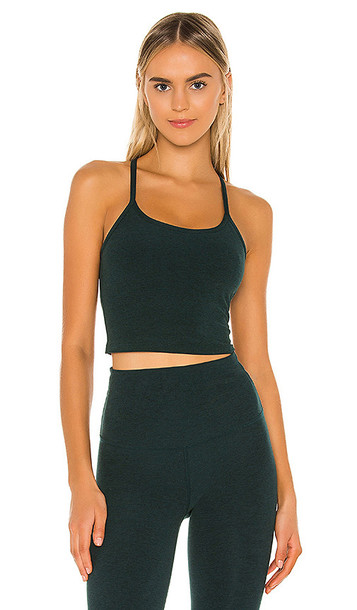 Beyond Yoga Spacedye Slim Racerback Cropped Tank in Green