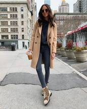 sweater,grey sweater,ankle boots,skinny jeans,high waisted jeans,camel coat,sunglasses