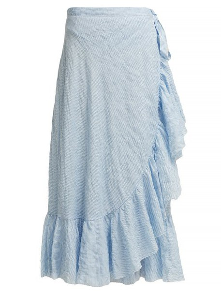 Loup Charmant - Ruffled Cotton Wrap Skirt - Womens - Blue Stripe