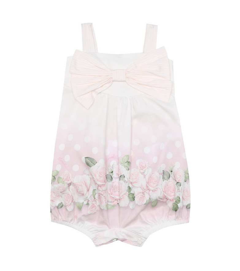 Monnalisa Baby printed cotton playsuit in white