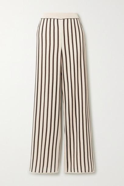Missoni - Striped Crochet-knit Straight-leg Pants - Ecru