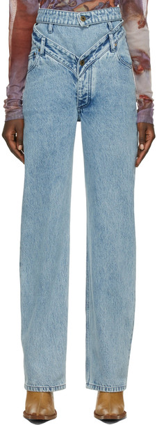 Y/Project SSENSE Exclusive Blue Waistband Jeans