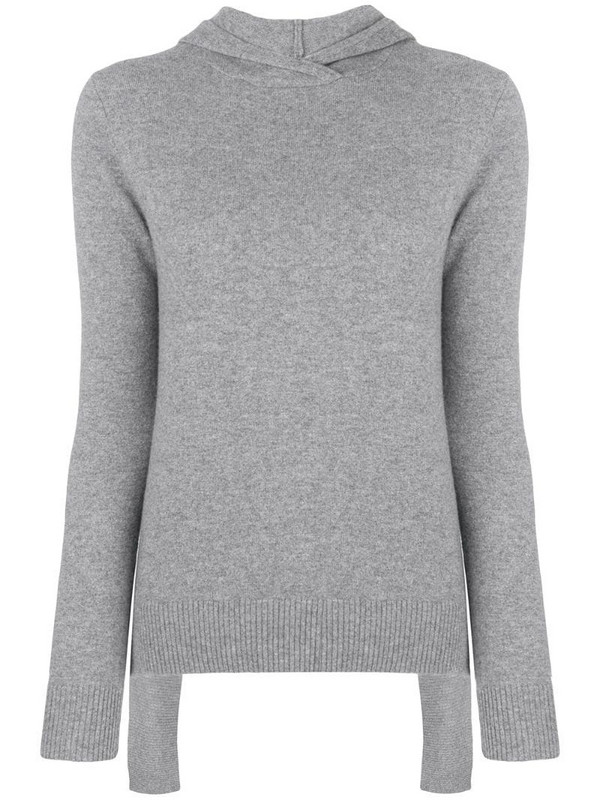 Cashmere In Love Mabel hooded jumper in grey