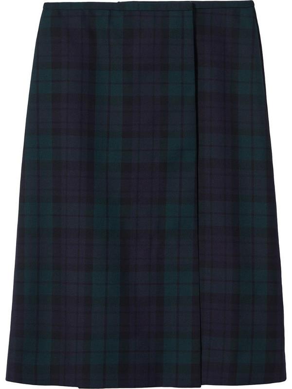 Marc Jacobs check midi skirt in blue
