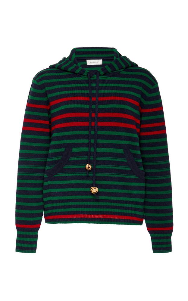 Wales Bonner Striped Wool-Blend Hooded Sweatshirt Size: S in green