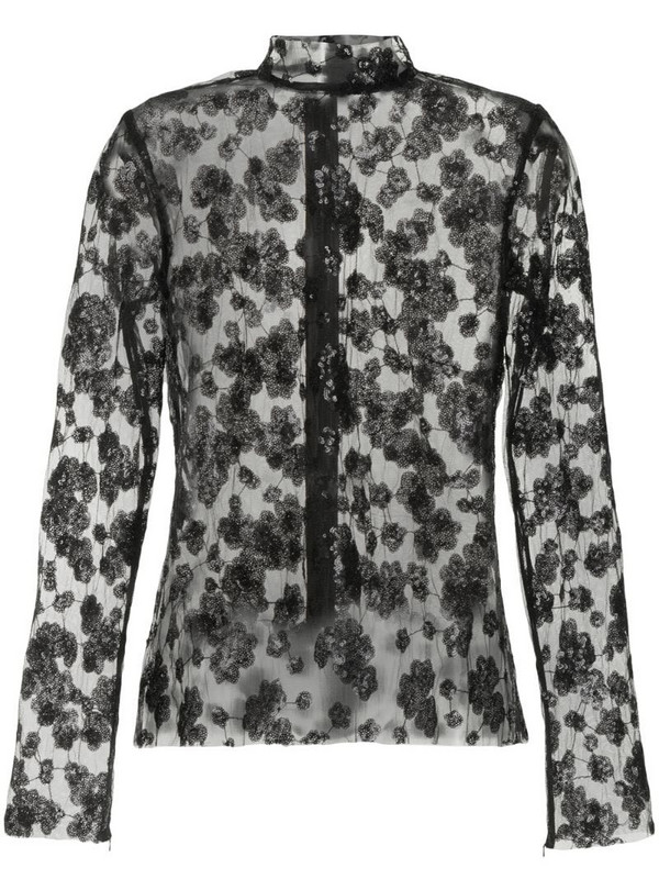Macgraw Majestic blossom sequin-embellished blouse in black