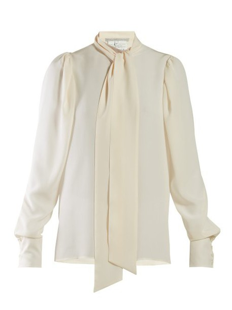 Stella Mccartney - Pussy Bow Georgette Blouse - Womens - Ivory