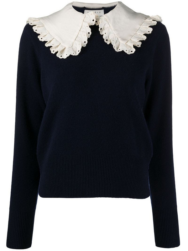 Sandro Paris contrast-collar jumper in blue